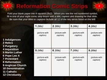 Protestant Reformation: visual & engaging 22 slide PPT and Comic Strip Activity