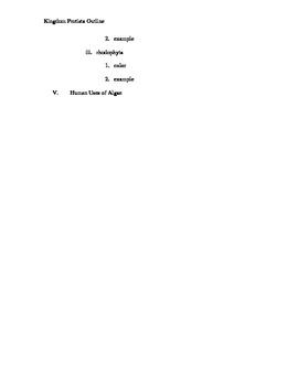 Protist Outline for High School Biology