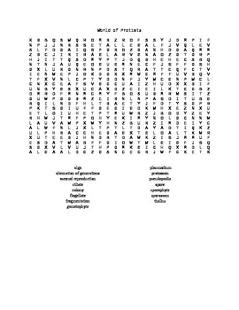 Protists Word Search for Biology II