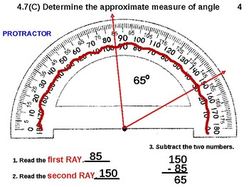Protractor STAAR 4.7(C): Determine the Approximate measure of Angle