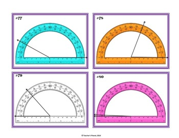 Protractor Games - Match Up, Concentration and Task Cards! 4.MD.C.6
