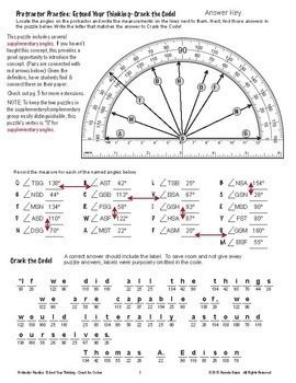 Protractor Practice - Supplementary & Complementary Angles Crack the Code