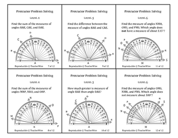Protractor Problem Solving Task Cards