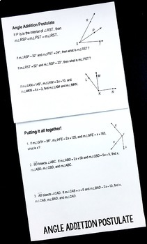 Protractor and Angle Addition Postulate Flipbook