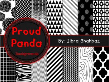 Proud Panda (B&W) Digital Paper Backgrounds