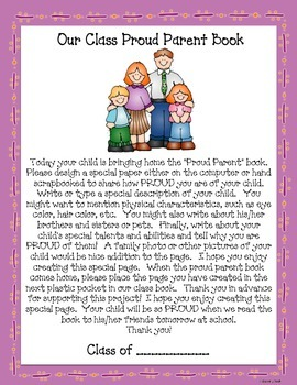 Proud Parent Book (Great Way to Get to Know Your Students in September!)