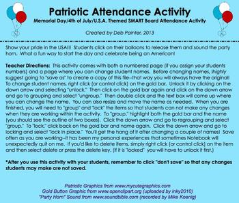 """""""Proud To Be An American"""" Patriotic SMART Board Attendance w/ ANIMATION & SOUND"""