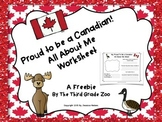 Proud To Be a Canadian: All About Me Worksheet