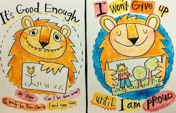 Proud of my Work! Growth Mindset Poster: Lion