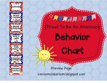 Proud to Be an American Behavior Charts