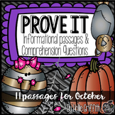 Prove It! Informational Passages and Comprehension Questions: October