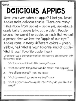 Prove It! Informational Passages and Comprehension Questions: September