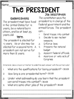 Prove It! Informational Passages and Comprehension Questions: Election