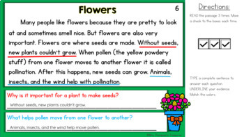 Reading Comprehension Text Evidence Practice for May
