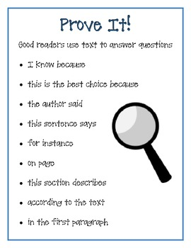 Prove It Poster - Common Core and Close Reading Tips