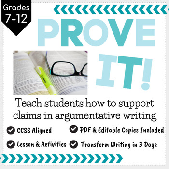 Prove It! Teach Students to use Evidence to Support Argument Claims