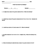 Prove You Know Your Density worksheet