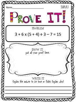 Prove it! {5th grade Common Core math problems} MEGA PACK!