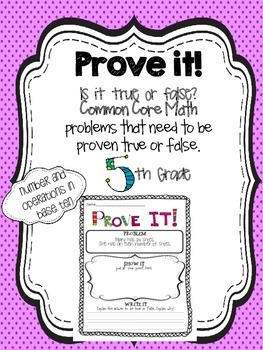 Prove it! {5th grade Number & Operations in base ten}