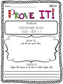 Prove it! {5th grade- Numbers & Operations in Base Ten}