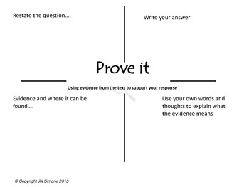 Prove it! Graphic Organizer for using textual Evidence, CCSS.ELA-Literacy.RL.4.1