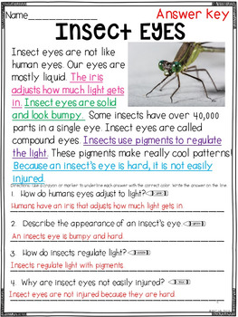 Prove it! Informational Passages and Comprehension Questions: April