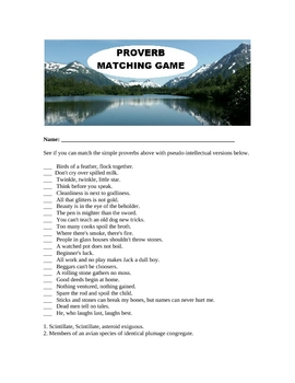 Proverb Matching Game and Answer Key