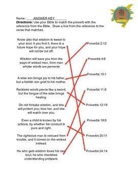 Proverb Matching Worksheet