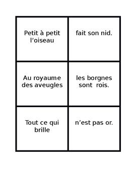 Proverbes francais (French proverbs) Concentration game