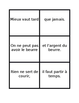 Proverbes français (French Proverbs) Concentration Game
