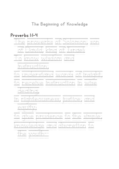 Proverbs 1-8 Handwriting Tracing Sheets in ESV