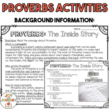 Proverbs Bible Packet
