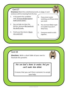 Proverbs and Adages Task Cards - Barking Dogs