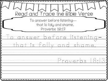 proverbs for kids proverbs 18 13 bible verse tracing and coloring worksheets. Black Bedroom Furniture Sets. Home Design Ideas