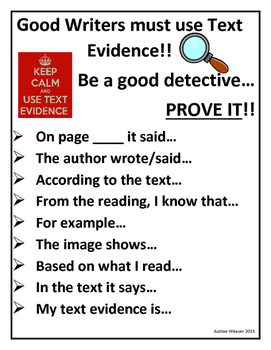 Provide Text Evidence Poster