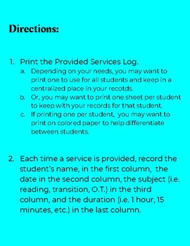Provided Services Log