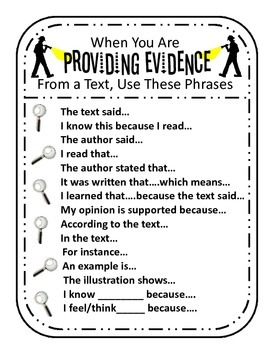 Providing Evidence from a Text