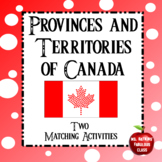 Provinces and Territories of Canada Matching Geography Puzzle Activity