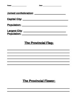 Provinces of Canada Research Template and Checklist