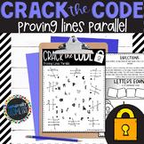 Proving Lines Parallel Crack the Code Worksheet