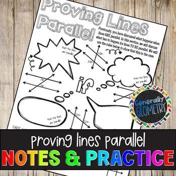 Proving Lines Parallel Doodle Guide & Practice Worksheet; Geometry
