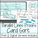 Proving Lines Parallel Proof Activity  - High School Geometry Proofs