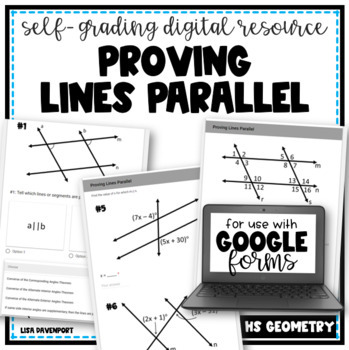 Proving Lines Parallel- digital assignment for use with Google Forms