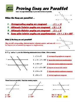Geometry Guided Notes:  Proving Lines are Parallel