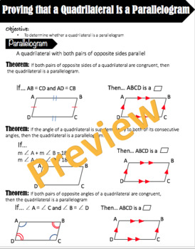 Proving That a Quadrilateral is a Parallelogram Cheat Sheet - Editable