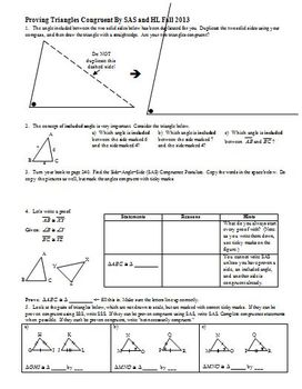 Proving Triangles Congruent By SAS and HL Fall 2013 (Editable)