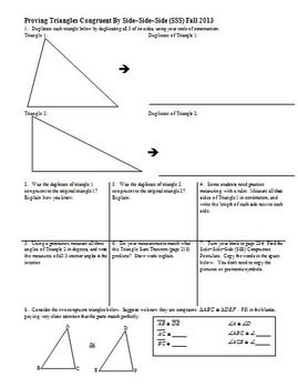Proving Triangles Congruent By SSS Fall 2013 (Editable)