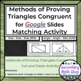 Proving Triangles Congruent GOOGLE DRIVE Cut and Paste Activity