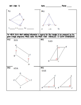 Proving Triangles Congruent Quiz or Worksheet