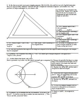 Proving Triangles Congruent Using ASA and SAA Fall 2013 (Editable)